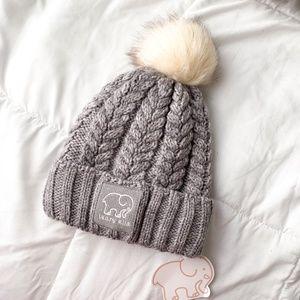 Ivory Ella | grey knit sherpa lined pom beanie